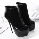 Black Patent Glossy Platforms Stiletto High Heels Ankle Boots Shoes