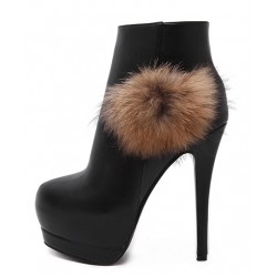 Black Fur Pom Platforms Stiletto High Heels Ankle Boots Shoes