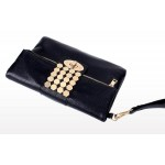 Black Cream Blue Red Hexagonal Gold Studs Punk Rock Clutch Sling Cross Body Strap Bag
