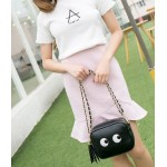 Black Gold Chain Cartoon Eyes Side Tassel Cross Body Strap Bag Handbag