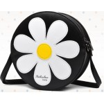 Black White Camomille Flower Cross Body Strap Bag Handbag