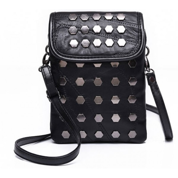 Black Hexagonal Metal Studs Punk Rock Mini Handphone Cross Body Strap Bag