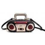 Black Red Vintage Radio Punk Rock Handbag Cross Body Strap Bag
