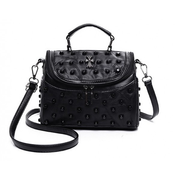 Black Studs Cross Punk Rock Cross Body Handbag Camera Bag