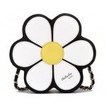 Black White Giant Camomille Flower Cross Body Strap Bag Handbag