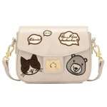 Cream Black Pink Dog Cats Buckle Retangular Cross Body Strap Bag Handbag