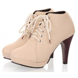 Beige Lace Up Stiletto High Heels Platforms Ankle Rider Booties Boots