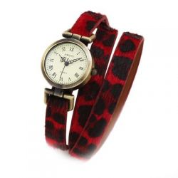 Red Fur Leopard Long Belt Strap Bracelet Bangle Wristband Quartz Watch 25 mm
