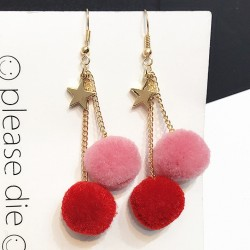 Red Pink Gold Star Fur Flurry Colorful Poms Long Earrings Ear Drops