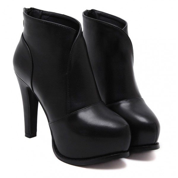 Black Platforms Stiletto High Heels Boots Shoes
