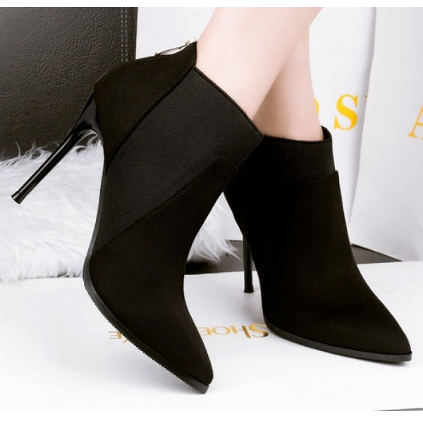 Black Suede Point Head Ankle Stiletto High Heels Boots Shoes