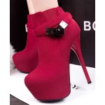 Red Suede Metal Buckle Straps Platforms Stiletto High Heels Boots Shoes