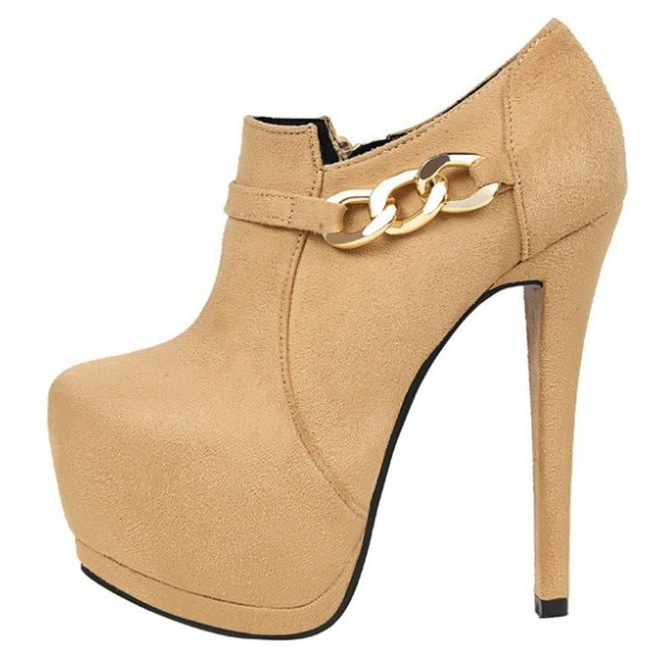Khaki Suede Gold Chain Platforms Ankle Stiletto High Heels Boots Shoes