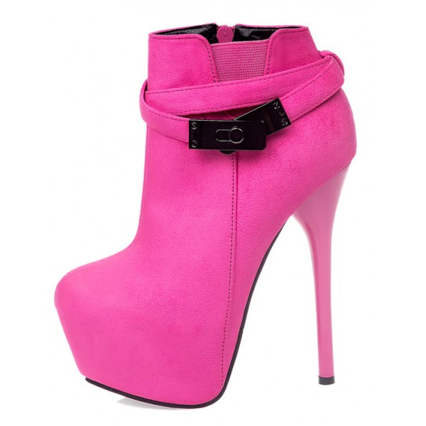 Pink Suede Metal Buckle Straps Platforms Stiletto High Heels Boots Shoes