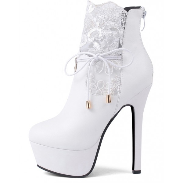 White Ankle Lace Crochet Platforms Stiletto High Heels Boots Shoes
