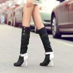 Black Denim Jeans White Buckle Long Stiletto High Heels Boots Shoes