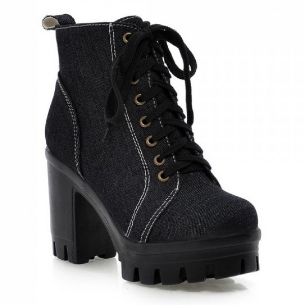 Black Demin Jeans Lace Up Platforms Sneakers Chunky Block High Heels Boots Shoes