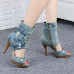 Blue Ripped Denim Jeans Ankle Peep Toe Sandals Stiletto High Heels Boots Shoes