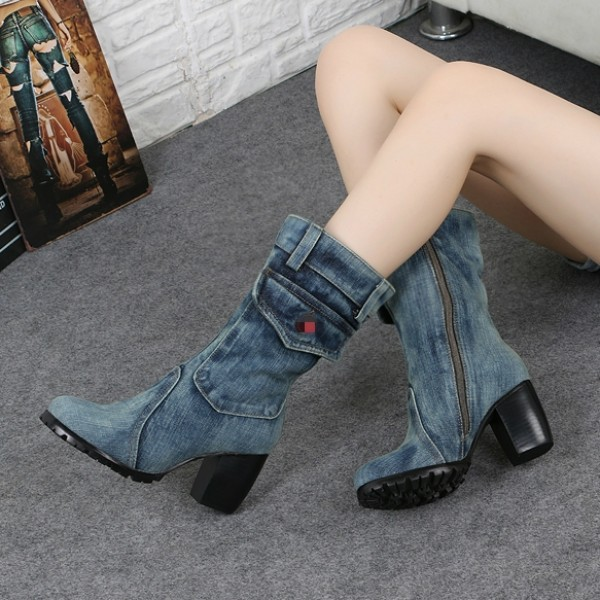 Blue Washed Denim Jeans Platforms Mid Calf High Heels Boots Shoes