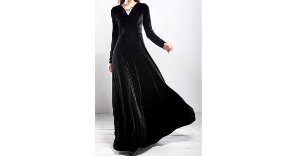 Black Velvet Long Sleeves V Neck Gothic Maxi Long A Line Dress Gown