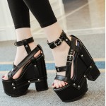 Black Straps Punk Rock Gothic Creeper Platforms Wedges Sandals Shoes