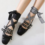 Black Studs Straps Ankle Ribbons Punk Rock Ballets Ballerina Flats Shoes