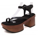 Black Suede Thin Straps Block Thick Sole Heels Gladiaor Sandals Shoe