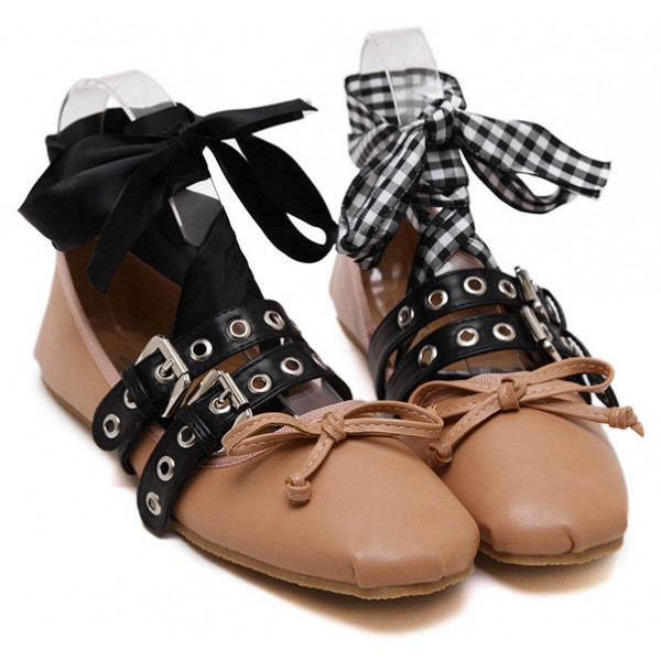 Khaki Studs Straps Ankle Ribbons Punk Rock Ballets Ballerina Flats Shoes