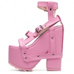 Pink Straps Punk Rock Gothic Creeper Platforms Wedges Sandals Shoes