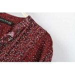 Burgundy Florals Retro Pattern Cotton Long Sleeves Blouse Shirt