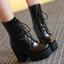 Black High Top Lace Up Platforms Punk Rock Chunky High Heels Combat Boots Shoes