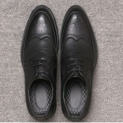 Black Vintage Wingtip Lace Up Mens Oxfords Loafers Dapperman Dress Shoes Flats
