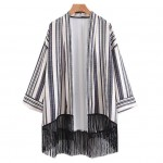 Black White Geometric Long Tassels Kimono Cardigan Outer Wear