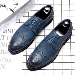 Blue Vintage Wingtip Lace Up Mens Oxfords Loafers Dapperman Dress Shoes Flats