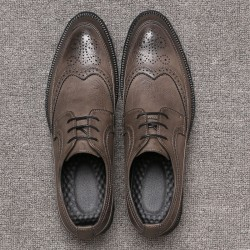 Grey Vintage Wingtip Lace Up Mens Oxfords Loafers Dapperman Dress Shoes Flats