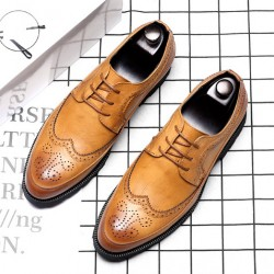 Yellow Brown Vintage Wingtip Lace Up Mens Oxfords Loafers Dapperman Dress Shoes Flats