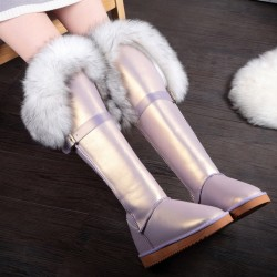 Purple Metallic Rabbit Fur Eskimo Long Knee Furry Yeti Winter Snow Boots