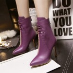 Purple Leather Lace Up Point Head Stiletto High Heels Ankle Boots Shoes