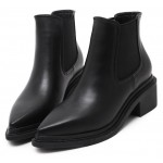 Black Pointed Head U Chelsea Ankle Boots High Heels Shoes
