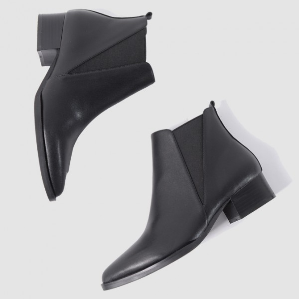 Black Pointed Head Leather V Chelsea Ankle Boots Flats Shoes