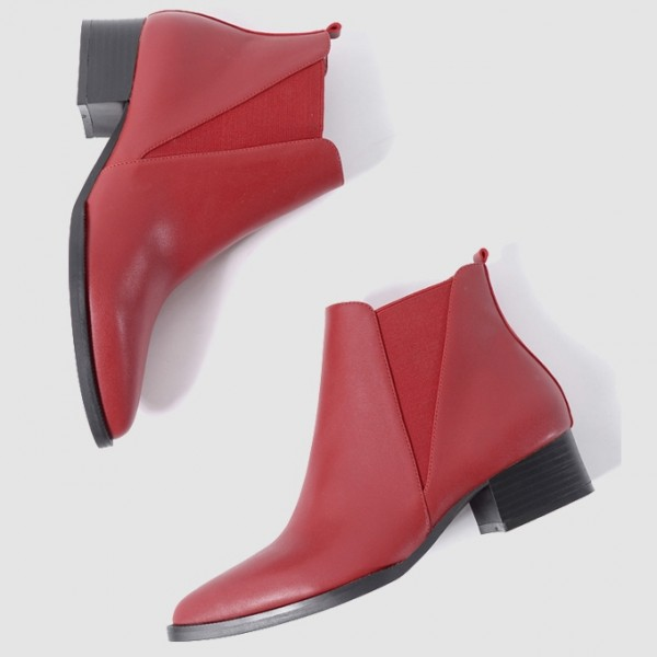 Red Pointed Head Leather V Chelsea Ankle Boots Flats Shoes