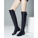 Black Leather Elastic Long Knee Rider Flats Boots Shoes