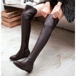 Brown Sexy Long Knee Rider Flats Boots Shoes