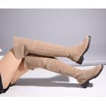 Khaki Suede Long Knee Rider Boots Shoes