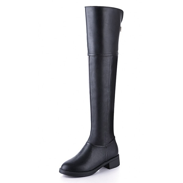 Black Sexy Long Knee Rider Flats Boots Shoes