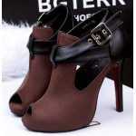 Brown Suede Cross Strap Belt Peep Toe Stiletto High Heels Sandals Shoes