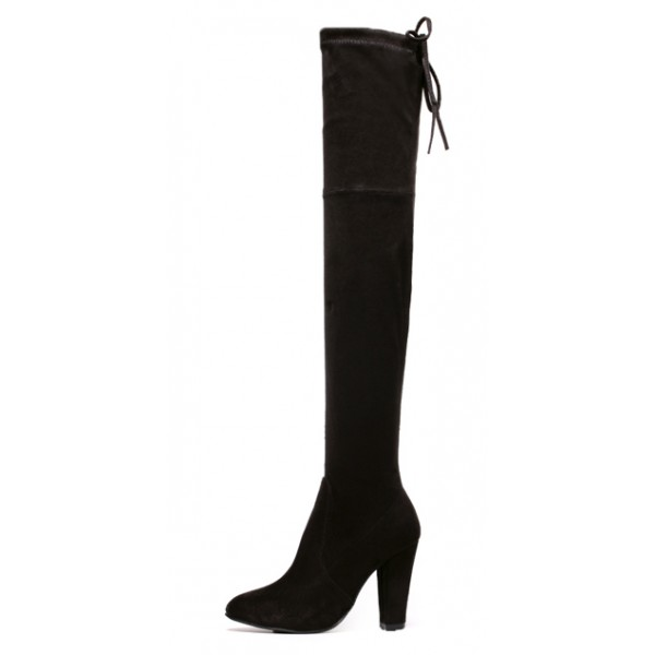 Black Suede Elastic PU Point Head Long Knee Rider High Heels Boots Shoes
