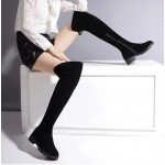 Black Suede Long Knee Rider Boots Shoes