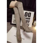 Khaki Suede Elastic PU Point Head Long Knee Rider High Heels Boots Shoes