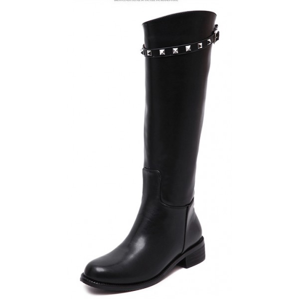 Black Metal Square Studs Long Knee Rider Boots Shoes